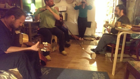 Flute, Swedish bagpipes, guitar and a long horn-thingy.  Always an interesting musical mix at Paul's!